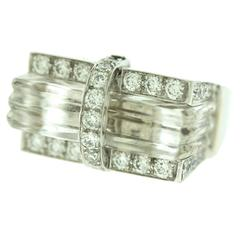 Davd Webb Carved Rock Crystal and Diamond Ring