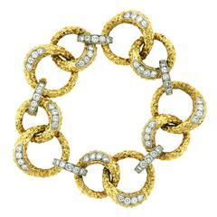 M. Gerard Diamond Textured Gold Link Bracelet