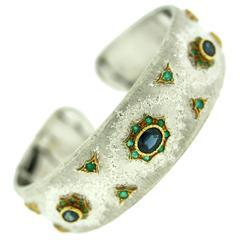 Buccellati Sapphire Emerald Gold Cuff Bracelet