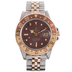 Rolex Yellow Gold Stainless Steel GMT Wristwatch Ref 1675