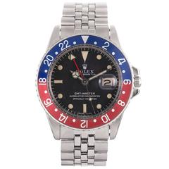 Rolex Stainless Steel Matte Dial GMT Wristwatch Ref 1675
