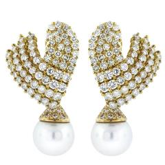 Diamond Gold Cluster Earrings with South Sea Pearl Drops