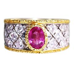 1950s Mario Buccellati Pink Sapphire, Diamond and Gold Ring