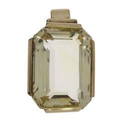 Large Citrine Gold Pendant