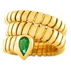 Bulgari Serpenti Gold Emerald Tubogas Ring