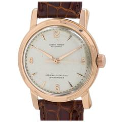 Ulysee Nardin 18K Rose Gold Automatic Dress Wristwatch circa 1950s
