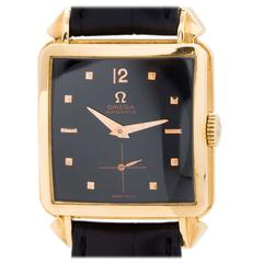 Omega Rose Gold Square Oversize Automatic Wristwatch circa 1950s