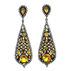 Lauren Harper Faceted Orange Citrine Diamond Fine Silver Dangle Drop Earrings