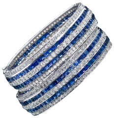 Pair of Twin Art Deco Diamond Sapphire Bangle Bracelets 65 Carat
