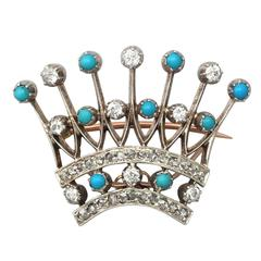 2.40Ct Diamond & Turquoise, 12k Yellow Gold 'Crown' Brooch - Antique Victorian