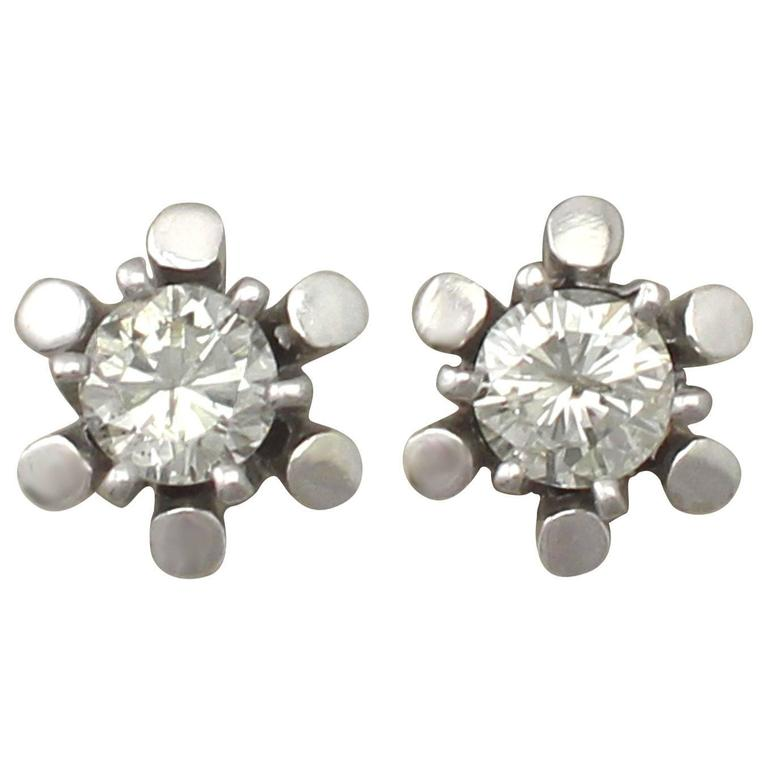 0.48Ct Diamond and 14k White Gold Stud Earrings - Vintage German Circa 1970
