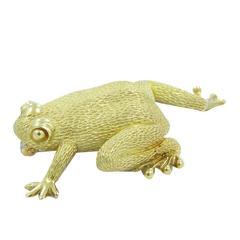 Henry Dunay Gold Frog Pin Brooch