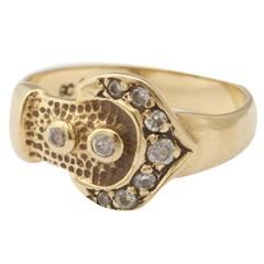 1880s Diamond Gold Buckle Ring