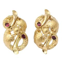 1890s Victorian Garnet Gold Earrings