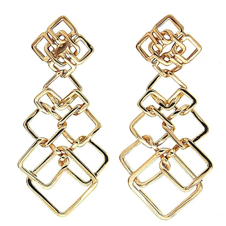Valentin Magro Small Version Gold Cushion Link Interlocking Dangle Earrings 1