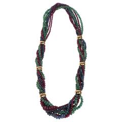 Exquisite French Mid-Century Sapphire Ruby Emerald Gold Necklace