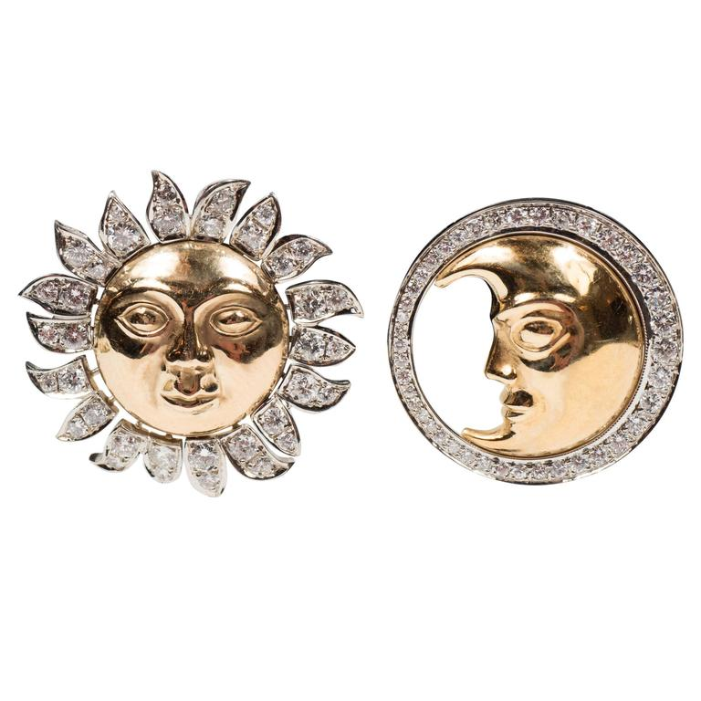 Demner Diamond Two-Color Gold Sun and Moon Earrings  1