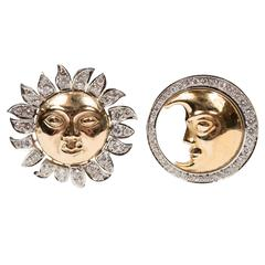 Demner Diamond Two-Color Gold Sun and Moon Earrings