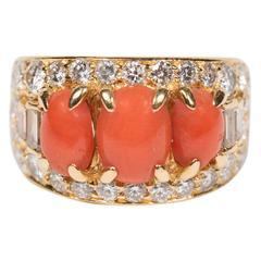 Bulgari Mid-Century Modernist Coral Diamond Gold Ring