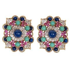 Marianne Ostier Colored Stone Diamond Gold Platinum Earclips