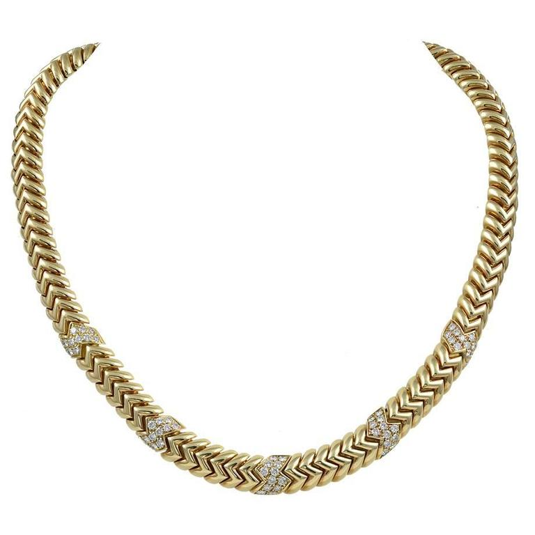 Bulgari Spiga Diamond Gold Necklace