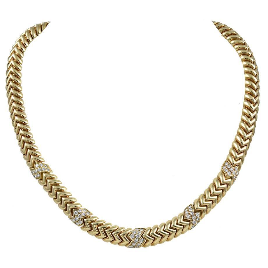 Bulgari Spiga Diamond Gold Necklace