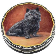 Antique Enamel Marcasite Sterling Dog Portrait Case