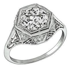 1.98 Carat GIA Cert Diamond Platinum Engagement Ring