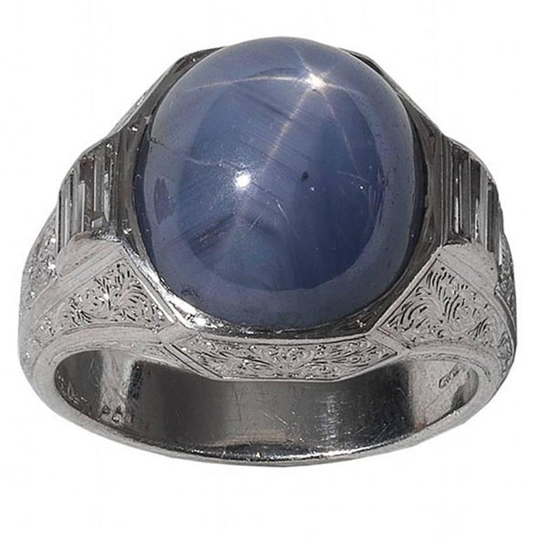 Buccellati Star Sapphire Diamond Platinum Ring