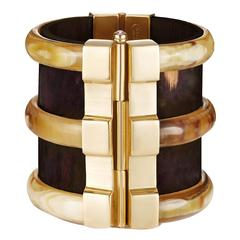 Fouche Diana Vreeland Horn Emerald Ruby Fire Opal Wood Gold Cuff Bracelet