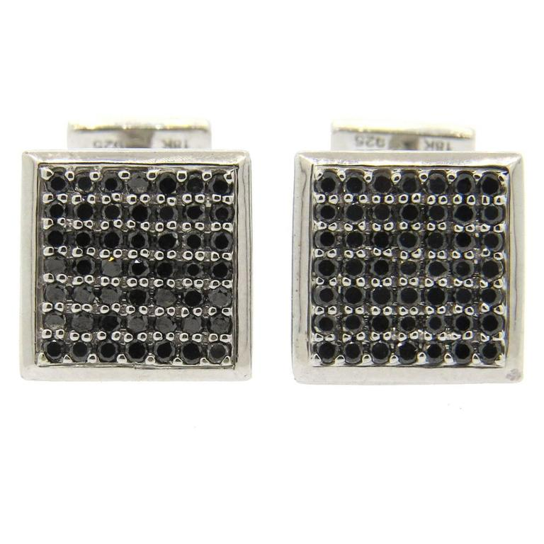 Le Metier Luxe Black Diamond Silver Gold Cufflinks