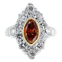 .91 Carat Natural Cognac Diamond Two Color Gold Ring