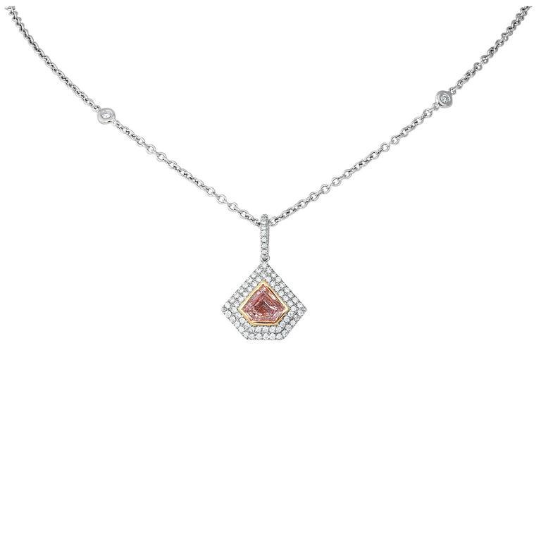 .76 Carat GIA Cert Pink Diamond Gold Pendant Necklace