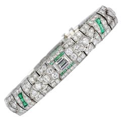 14.00 Carats Art Deco Emerald Diamonds Platinum Bracelet