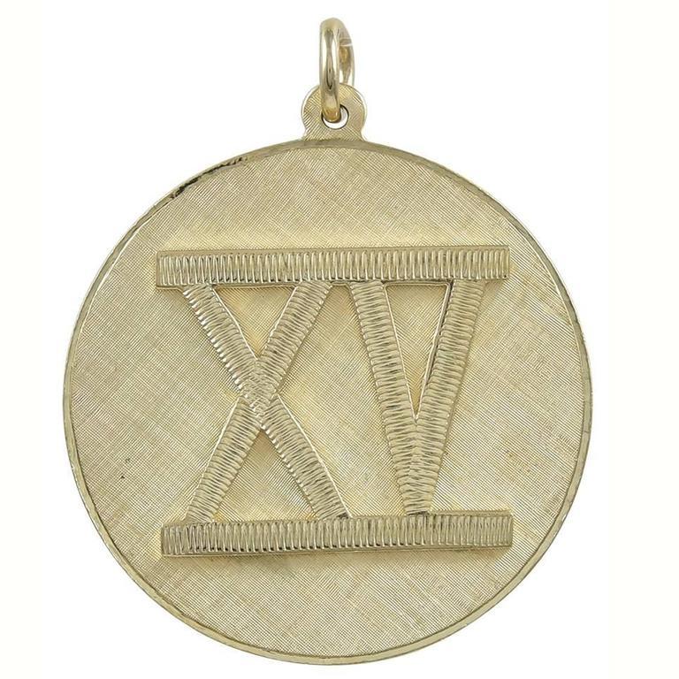 Large XV Gold Charm/Pendant
