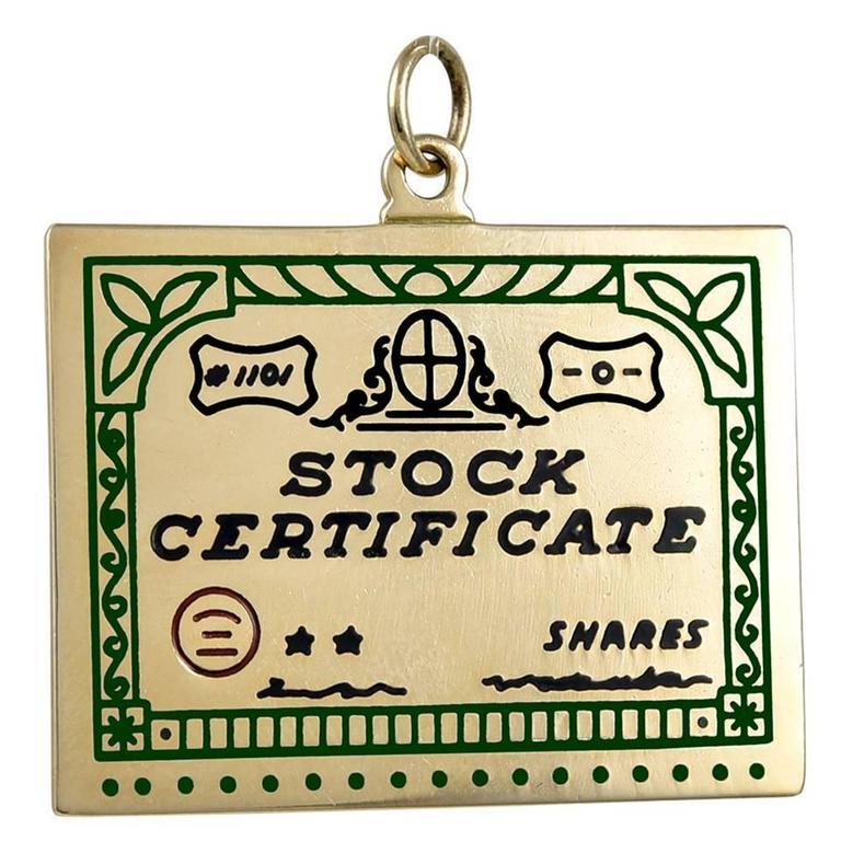 Stock Certificate Gold Pendant Charm