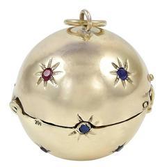 Antique Gemset Gold Ball Locket