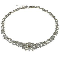 Magical Edwardian Diamond Gold Platinum Necklace