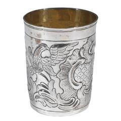 Antique Russian Parcel-Gilt Silver Beaker Moscow 1776
