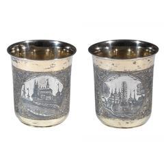 Antique Russian Silver Gilt and Niello Beaker
