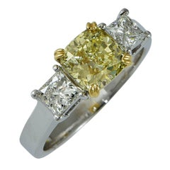 1.89 Carat GIA Cert Fancy Color Diamond Two Color Gold Ring