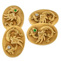 Art Deco Emerald Diamond Gold Dragon Cufflinks