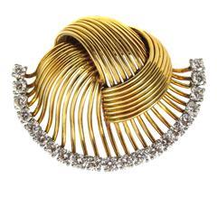 1950s Cartier Paris Retro Diamond Gold Pin