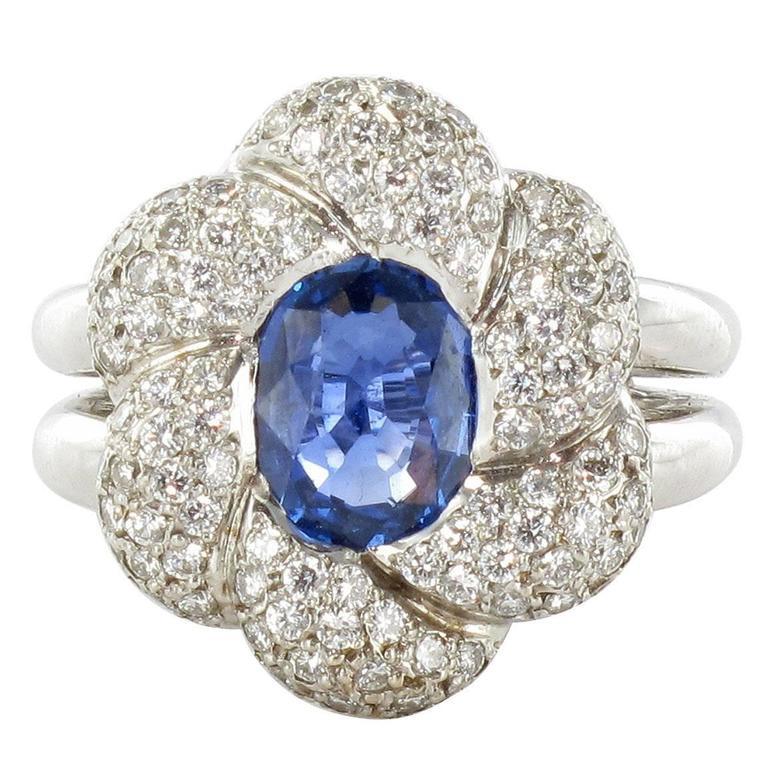 French Modern Sapphire Diamond White Gold Flower Cluster Ring