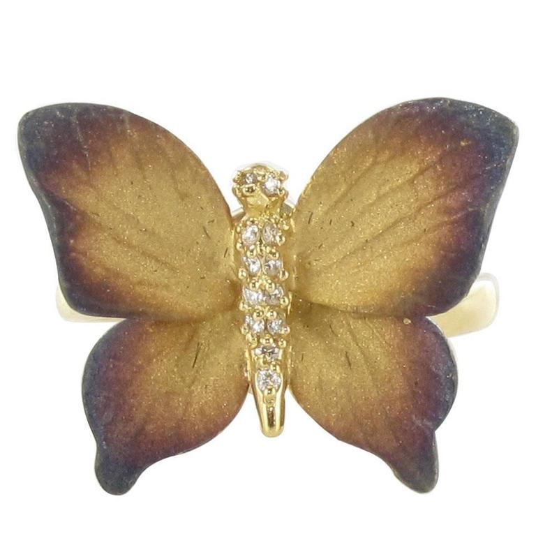 Enamel Diamond and Yellow Gold Butterfly Ring