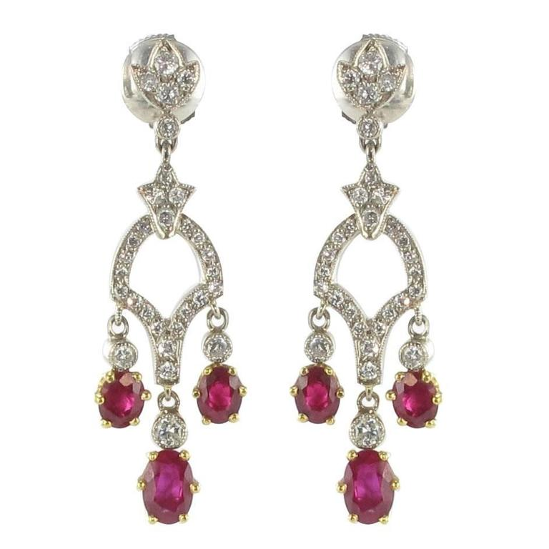 Ruby Diamond White Gold Drop Earrings