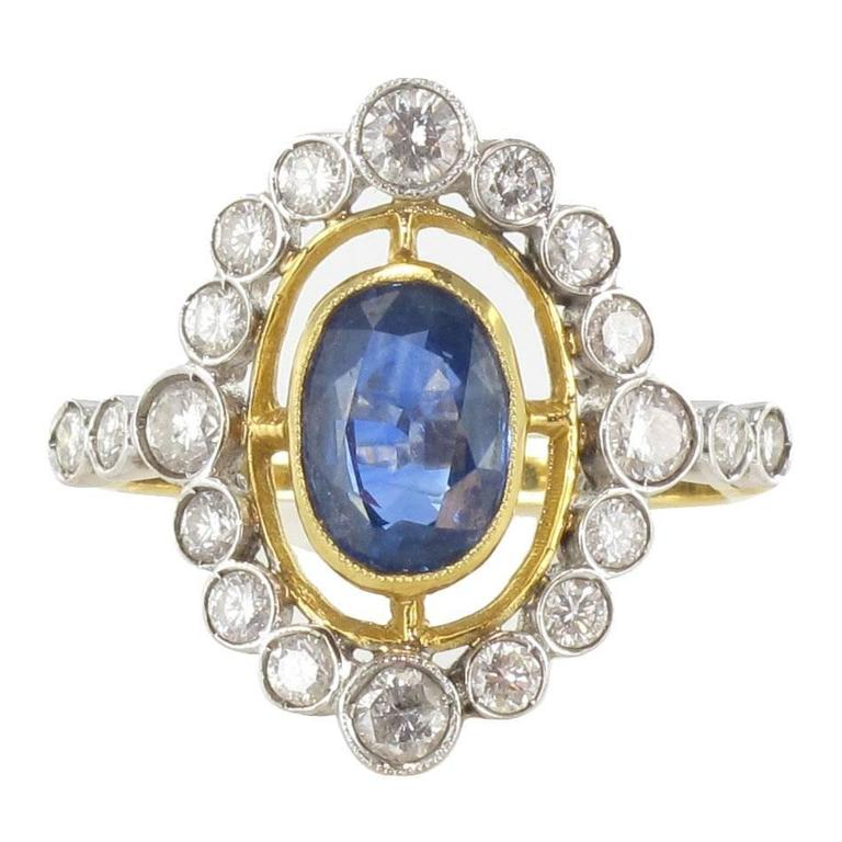 Sapphire Diamond Gold Openwork Ring For Sale