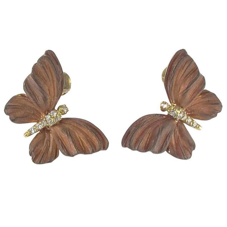 Rose Enamel Diamond Gold Butterfly Earrings