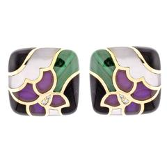 Asch Grossbart  Gemstone inlay Gold Earrings