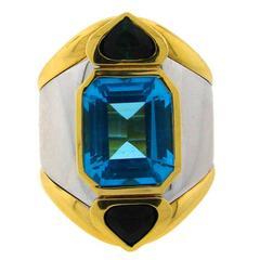 1980s Marina B Blue Topaz Green Tourmaline Gold Ring